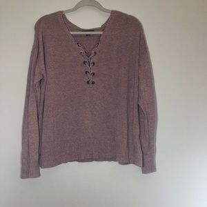 AEO pink sweater with criss cross neck!